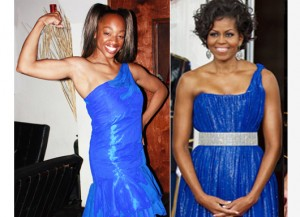 Michelle Obama & SusieQ FitLife Arms of a First Lady in Electric Blue Dresses