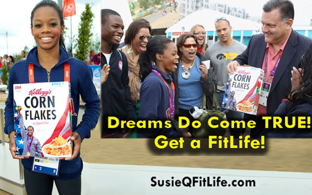 Gabby Douglas is Kellogg's Corn Flakes Cereal Cover Girl on SusieQ FitLife!