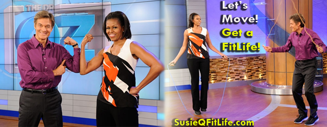 Michelle Obama on the Dr Oz Show! Jumping Rope & doing the Dougie on SusieQ FitLife! Susie Q!