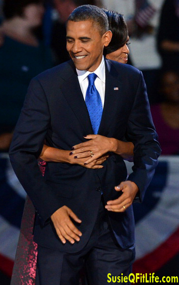 Arms of a First Lady around President Barack Obama! Michelle Obama! rocks on SusieQ FitLife!